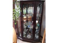 Mahogany Display Cabinet with glass. Inside lights which need repaired.