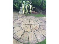 Circular design patio paving