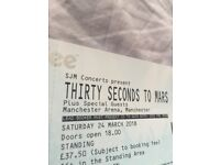 1 x Standing 30 seconds to mars MEN march 24th