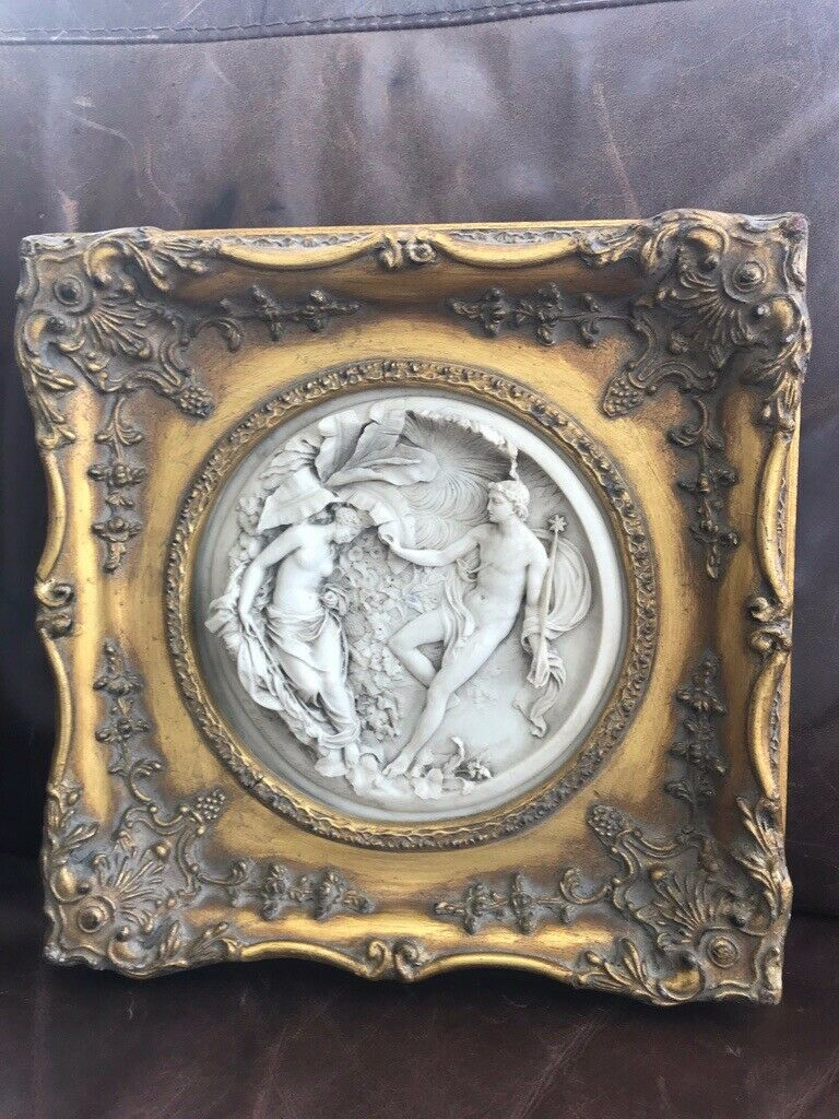 Gold framed round alabaster picture   in Wareham, Dorset   Gumtree