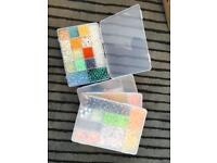 4 Storage Boxes with Quality Beads and Fasteners