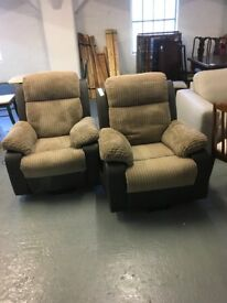 MATCHING PAIR OF TWO ELECTRIC RECLINER CHAIRS LESS THAN 9MONTHS OLD