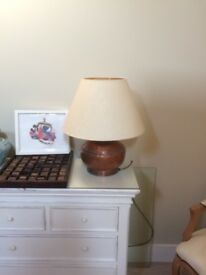 Beautiful Rustic Country & Eastern Copper Table Lamp with John Lewis Shade