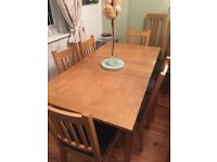 Extendable Oak Table and 6 Chairs