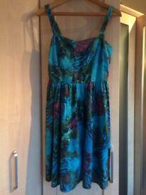 Summer Dress Tropical Blue Colours Size 10