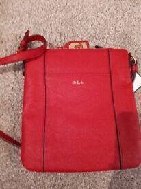 Womens ralph lauren red leather cross body bag