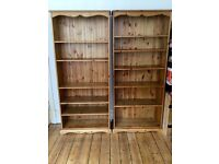 Tall pine bookcase, five adjustable shelves.
