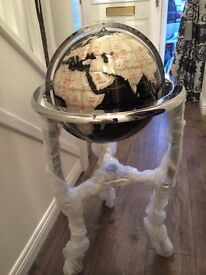 Gemstone globe. Mother of pearl and black agate on chrome floor stand with compass. Rare