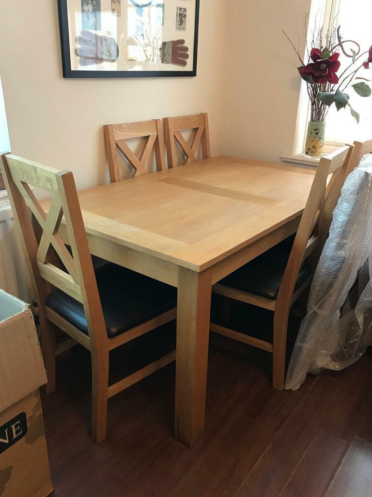 Solid Oak Dining Table For 6 With Chairs QUICK SALE