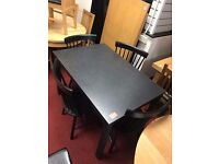 Black Table and 4 Wooden black Chairs