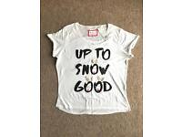 BRAND NEW WITH TAGS 'UP TO SNOW GOOD' LADIES PYJAMA TOP SIZE 12-14