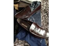 Authentic brand new Prada loafers, shoes with box, dust bags, leather, size 10, brown
