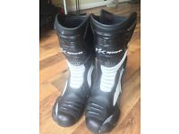 Good Condition RK Sports Black & White Motocycling Boots - Size 9