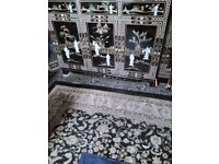Oriental laquard glass top mother of pearl sideboard forsale