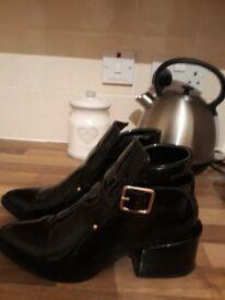 fern cotton block heel chelsea boots