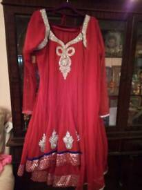 Beautiful red with silver stones anarkali