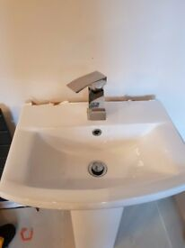 wash basin - pedestal - tap included. white modern with mixer tap