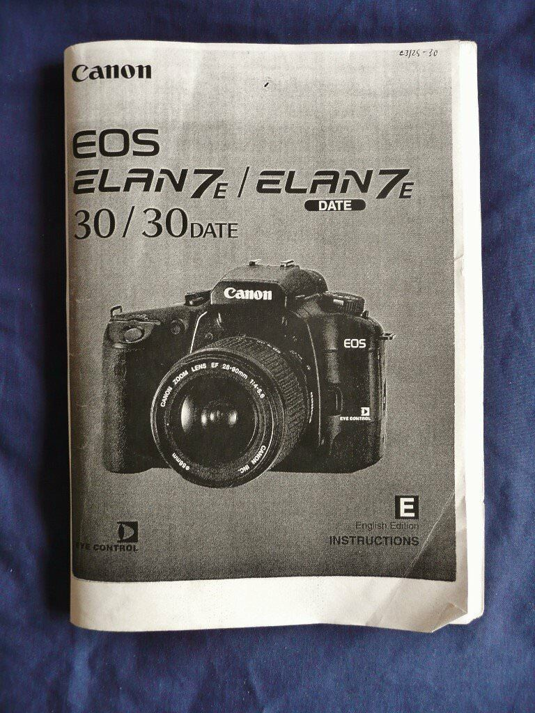 Canon eos elan 7s / canon eos 30 instruction manual, user manual.