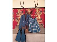 """Kilt (34"""" waist), flashes, waistcoat and jacket (40-42"""")- excellent condition"""