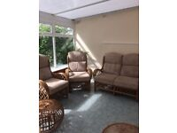 Cane conservatory furniture in reasonable condition, beige cord fabric.