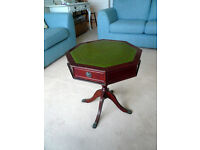 Vintage Hexagon 4 Draw Occasional Table Side Table With Leather Top