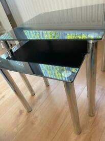 Double tv stand in black & glass 2 set nest of tables
