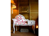 Vintage Telephone Seat Chair Table Chaise Longue Painted Shabby Chic Pink Roses