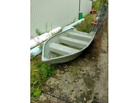 heavy-duty Aluminium 12 ' tender/safety boat and newish 9.8 hp 4 stroke Parsun outboard engine,
