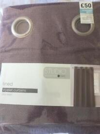 """Next Collection Studio Plum Herringbone Lined Eyelet Curtains 53""""Wx 72""""D"""