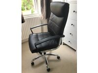 Black office chair, faux leather, large size, excellent condition