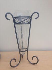 Crackle effect glass vase