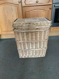 Big sturdy wicker laundry basket with lid