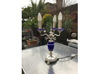 Elegant vintage table-top vase, silver and cobalt blue glass