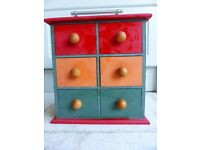 Trinket Chest of Drawers Cabinet Storage red green orange wooden footballer ends