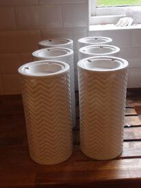 1960's style textured ceramic white laghtshades x 7