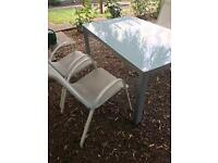 White Glass Table & 4 Chairs