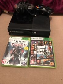 Xbox 360, 2 controllers, grand theft auto, assassins creed