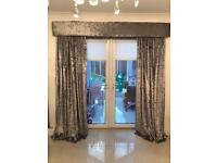 Two sets of gorgeous grey crushed velvet curtains and pelmets for sale! NEW.