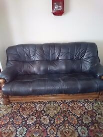 Free. Navy real leather 3 seat couch