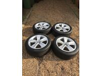 "4x Seat Leon FR mk3 17"" 225/45 5 spoke alloy wheels & continental tyres in great used condition"
