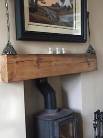 Pine Wooden Fireplace Mantel Beam