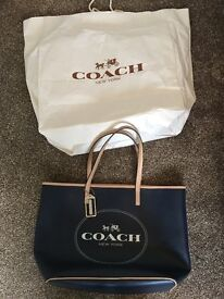 Navy and Biege Authentic Coach Handbag