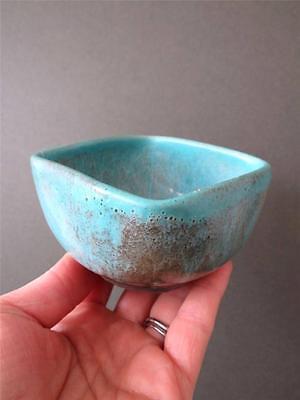 Vintage Modernist Danish Blue Art Pottery Sugar Bowl or Trinket Box