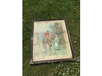 LARGE VINTAGE SHABBY CHIC HUNTING SCENE GLAZED PRINT WITH WOODEN FRAME REQ TLC