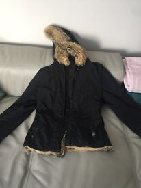 Size 8/Small Prada Coat with Fur Hood. Excellent condition