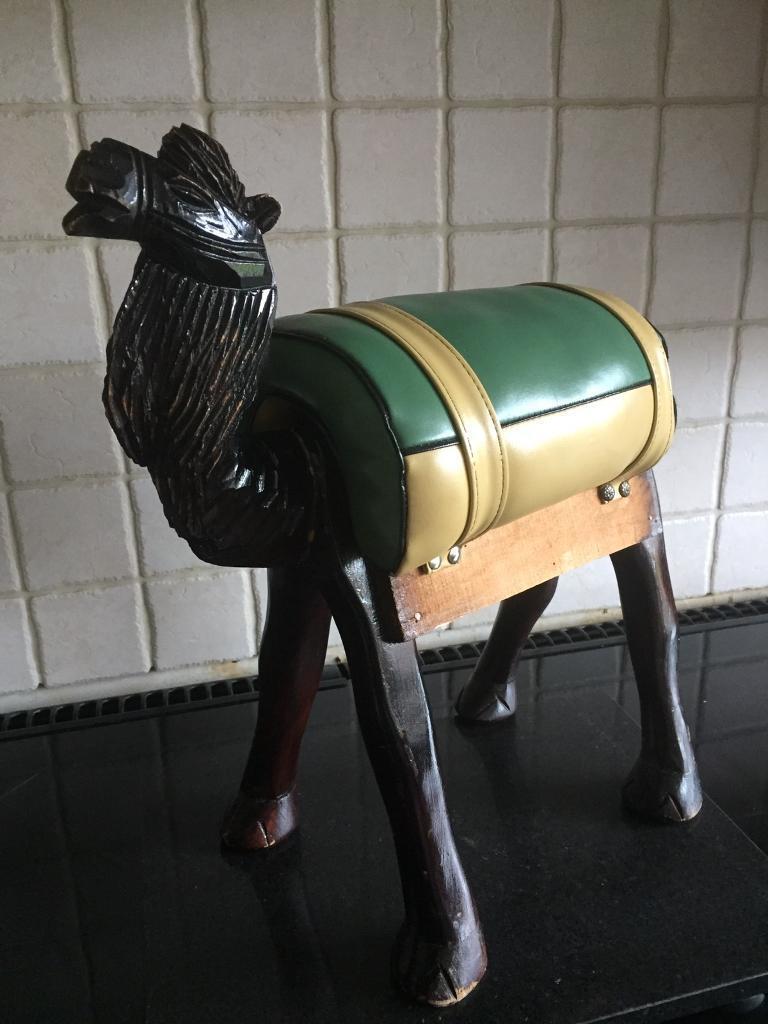 Vintage camel footstool wood & leather
