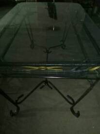Glass and wrought iron dining table with 4 chairs