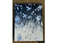 Painting, black and white with silver foil