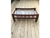 Large G plan glassed topped coffee table with shelf