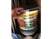 Ronseal one coat fence paint medium oak 12 litre tubs